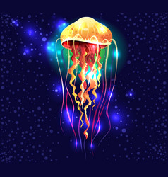 glowing vivid transparent underwater a jellyfish vector image