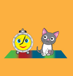 gray kitten and funny alarm clock vector image