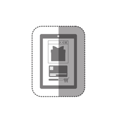 Gray scale middle shadow sticker with touch tablet vector