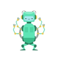 Green friendly android robot character with four vector