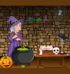 Halloween background with witch stirring poison vector