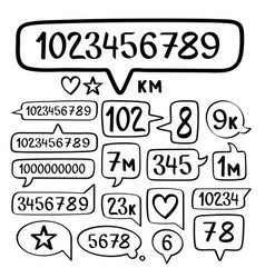 hand drawn doodle speech bubbles set and social vector image