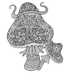Hand drawn magic mushrooms for adult anti stress vector image