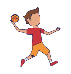 Handball player with ball avatar blue lines vector