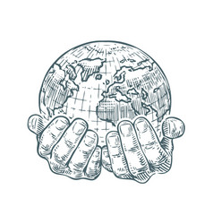 hands hold planet or world ecology or business vector image