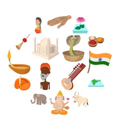 india icons cartoon vector image