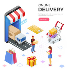 internet shopping online delivery isometric vector image