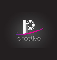 Ip i p letter logo with lines design and purple vector