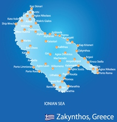 Island of Zakynthos in Greece map vector