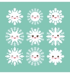 Kawaii snowflake set white funny face with eyes vector