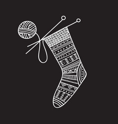 knitted sock and ball of yarn vector image