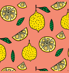 lemon fruit pattern background vector image