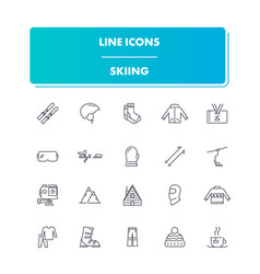 Line sport icons set skiing vector
