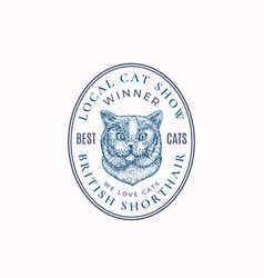 Local cat show frame badge or logo template hand vector