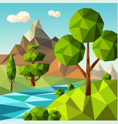 low poly landscape nature green trees plants vector image