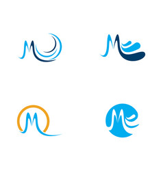 M letter water wave icon vector