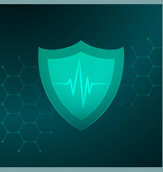 Medical healthcare shield with heartbeat line vector