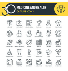medicine and health outline icons vector image