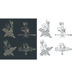 Milling and lamachine drawings vector