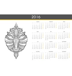 Modern calendar 2016 with monkey in German Ready vector