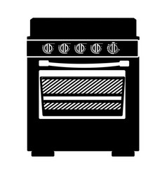 monochrome silhouette of stove with oven vector image