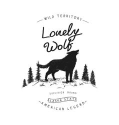 Old label with wolf vector image