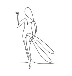 one continuous line drawing beauty woman feminine vector image