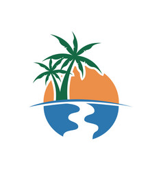 palm tree sunset view design vector image