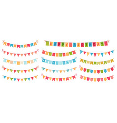 party bunting color paper triangular flags vector image