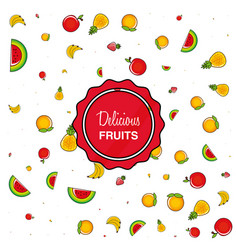 pattern of fresh healthy fruits vector image