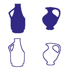 pixel art jug decoration isolated vector image