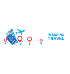 planning travel horizontal banner holiday route vector image