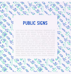 Public signs concept thin line icons vector
