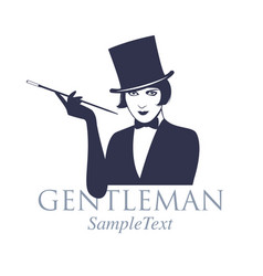 retro style emblem girl dressed as a gentleman vector image
