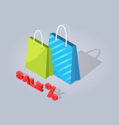 Sale isolated shopping bags icon vector