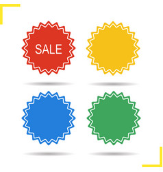 Sale stickers in different colors vector