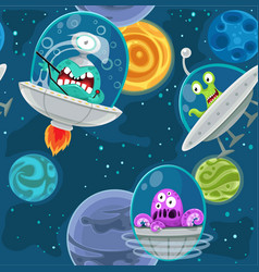 Seamless background with cartoon aliens in space vector