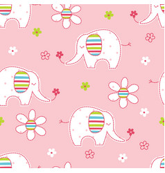 Seamless pattern with cute elephants and flowers vector