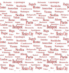 seamless text pattern with name of city vector image