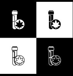 set chemical test tube with marijuana or cannabis vector image