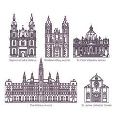 set isolated cathedral architecture line signs vector image