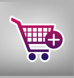 shopping cart with add mark sign purple vector image