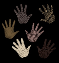 six scribbled hands vector image