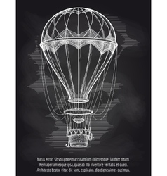 Sketch hot air balloon on blackboard vector image
