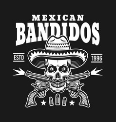 Skull in sombrero with two crossed pistols emblem vector