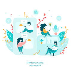 Startup coliving concept hand drawn vector