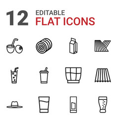 straw icons vector image