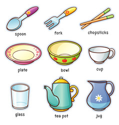 Tableware vocabulary vector