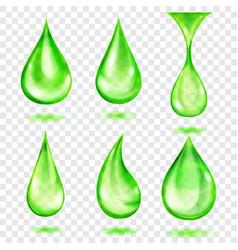 Translucent green drops vector