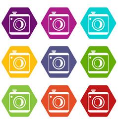 vintage photo camera icon set color hexahedron vector image